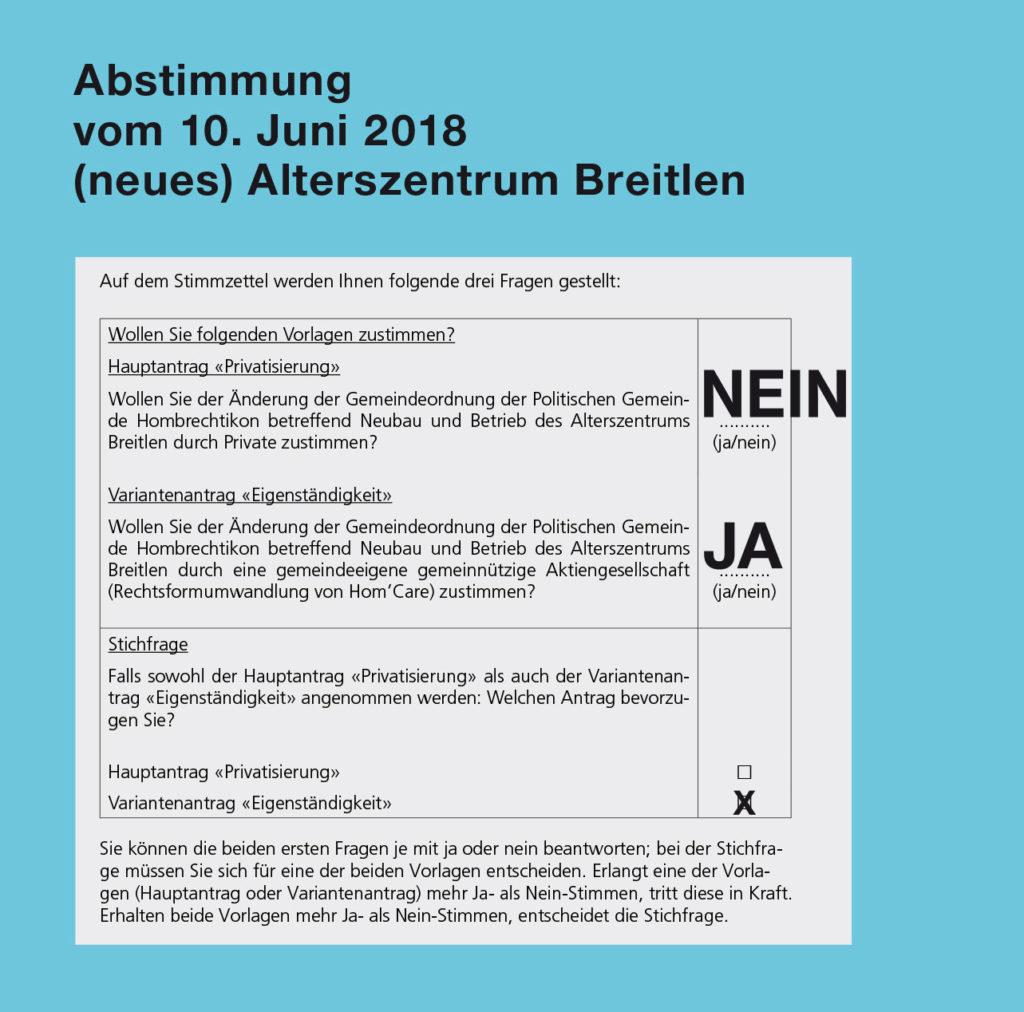 Abstimmung 10. Juni – Altersheim Breitlen